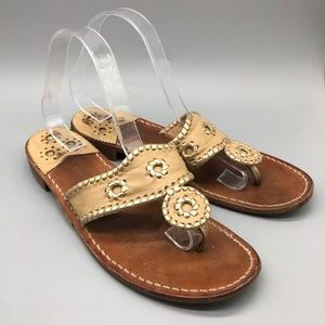 Jack Rogers wood sole leather thong sandals
